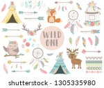 collection of hand drawn boho... | Shutterstock .eps vector #1305335980