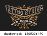 tattoo logo template with... | Shutterstock .eps vector #1305336490