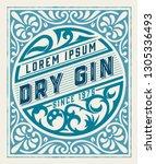 vintage gin label. vector... | Shutterstock .eps vector #1305336493