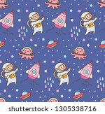 cartoon space kawaii seamless... | Shutterstock .eps vector #1305338716