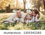 happy family is having fun with ... | Shutterstock . vector #1305342283