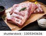 fresh raw pork ribs with...   Shutterstock . vector #1305343636