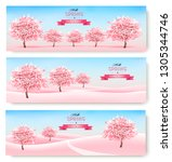 three spring banners with pink... | Shutterstock .eps vector #1305344746