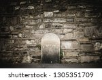 exterior brick wall with lonely ... | Shutterstock . vector #1305351709