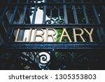 from below of black metal fence ... | Shutterstock . vector #1305353803