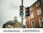 from below of green glowing... | Shutterstock . vector #1305354013
