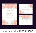 floral wedding invitation with... | Shutterstock .eps vector #1305365503