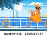 flat young beauty girl on wharf ... | Shutterstock .eps vector #1305365959