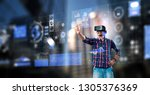 experiencing virtual technology ... | Shutterstock . vector #1305376369