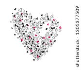 heart shape from  chaotic small ... | Shutterstock .eps vector #1305377509