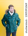 winter stylish menswear. man... | Shutterstock . vector #1305391069