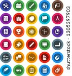 white solid icon set  book... | Shutterstock .eps vector #1305397903