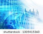 financial graph on technology...   Shutterstock . vector #1305415360