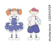 smiling children in cute outfits   Shutterstock .eps vector #130541939