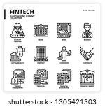 fintech icon set | Shutterstock .eps vector #1305421303
