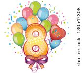 balloons on the eighth birthday | Shutterstock .eps vector #130542308