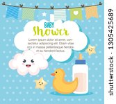 baby shower card with set items   Shutterstock .eps vector #1305425689