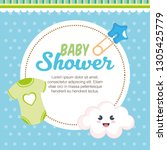 baby shower card with set items | Shutterstock .eps vector #1305425779