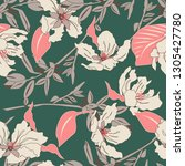 seamless pattern with beige... | Shutterstock .eps vector #1305427780
