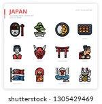 japan icon set | Shutterstock .eps vector #1305429469