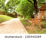 brown bench in the park ... | Shutterstock . vector #130543289