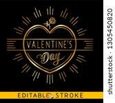 Stock vector golden heart valentines day icon gold icon on black background easy changing vector with 1305450820