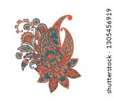 paisley isolated pattern.... | Shutterstock .eps vector #1305456919