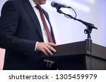 press interview. hand gesture.... | Shutterstock . vector #1305459979
