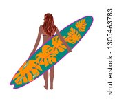 tanned girl with surf board ... | Shutterstock .eps vector #1305463783
