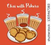 chai or tea with pakora vector... | Shutterstock .eps vector #1305467383