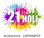 happy holi colorful... | Shutterstock .eps vector #1305468919