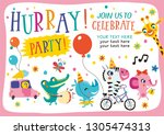hurray  party . template with... | Shutterstock .eps vector #1305474313