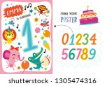 template with cute animals in... | Shutterstock .eps vector #1305474316