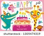 happy birthday. template with... | Shutterstock .eps vector #1305474319