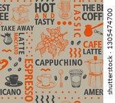 typographic vector coffee... | Shutterstock .eps vector #1305474700