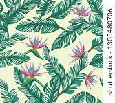 exotic flowers bird of paradise ... | Shutterstock .eps vector #1305480706