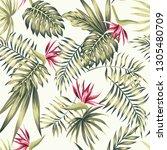 exotic flowers bird of paradise ... | Shutterstock .eps vector #1305480709