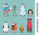 christmas characters   animals  ... | Shutterstock .eps vector #1305481336