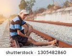 young man sitting alone in...   Shutterstock . vector #1305482860