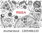 vector set with graphic  pizza...   Shutterstock .eps vector #1305486133