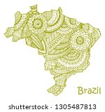 textured vector map of brazil.... | Shutterstock .eps vector #1305487813