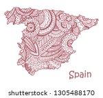 textured vector map of spain.... | Shutterstock .eps vector #1305488170