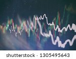 data on a monitor which... | Shutterstock . vector #1305495643