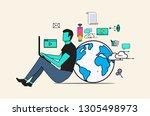 flat design illustration of... | Shutterstock .eps vector #1305498973