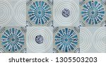 aqua colored abstract wall... | Shutterstock . vector #1305503203
