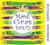 mardi gras party on yellow ... | Shutterstock .eps vector #1305511216