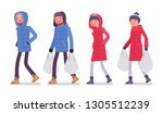 man and woman in a down jacket... | Shutterstock .eps vector #1305512239