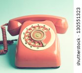 retro red telephone on blue... | Shutterstock . vector #130551323