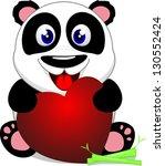 happy baby panda with heart | Shutterstock . vector #130552424