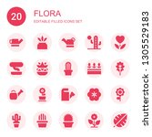 flora icon set. collection of... | Shutterstock .eps vector #1305529183